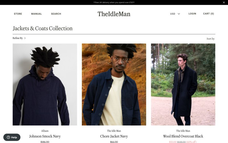 The Idle Man catalog page screenshot on April 18, 2019