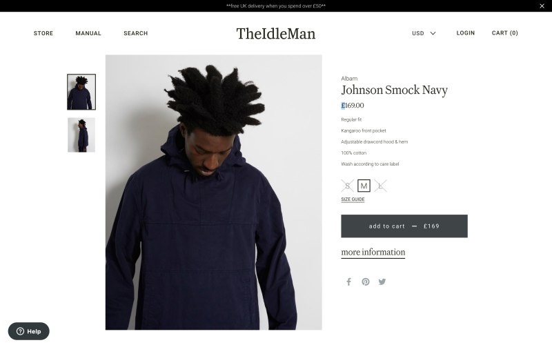 The Idle Man product page screenshot on April 18, 2019