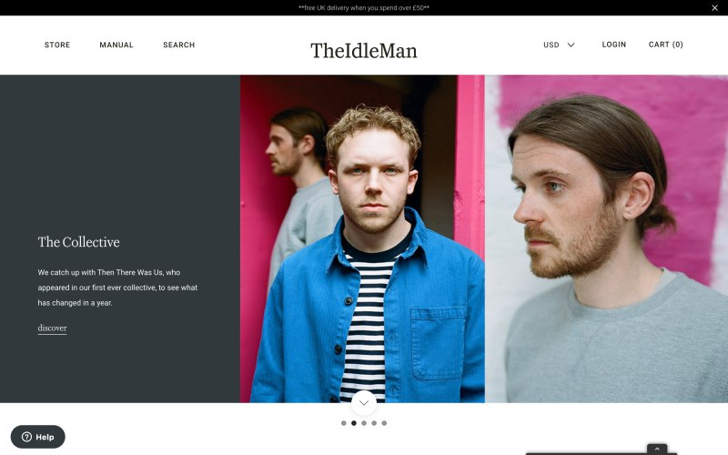 The Idle Man home page screenshot on April 18, 2019