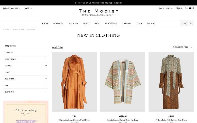 The Modist catalog page screenshot on April 18, 2019