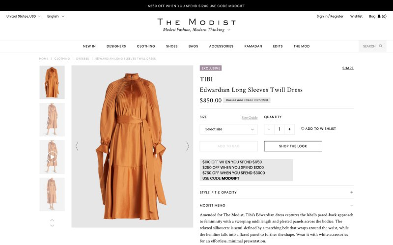 The Modist product page screenshot on April 18, 2019