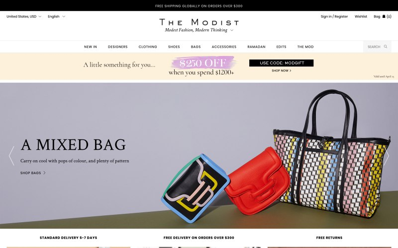 The Modist home page screenshot on April 18, 2019