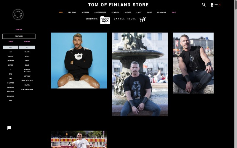 Tom of Finland Store catalog page screenshot on April 30, 2019