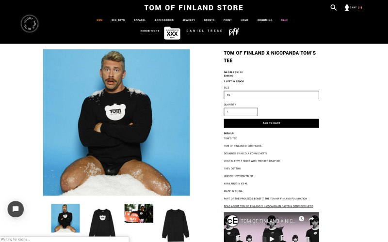 Tom of Finland Store product page screenshot on April 30, 2019