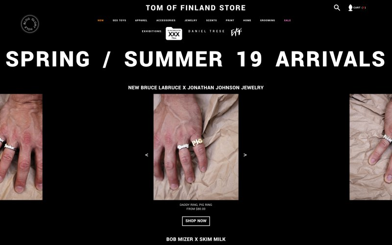 Tom of Finland Store home page screenshot on April 30, 2019