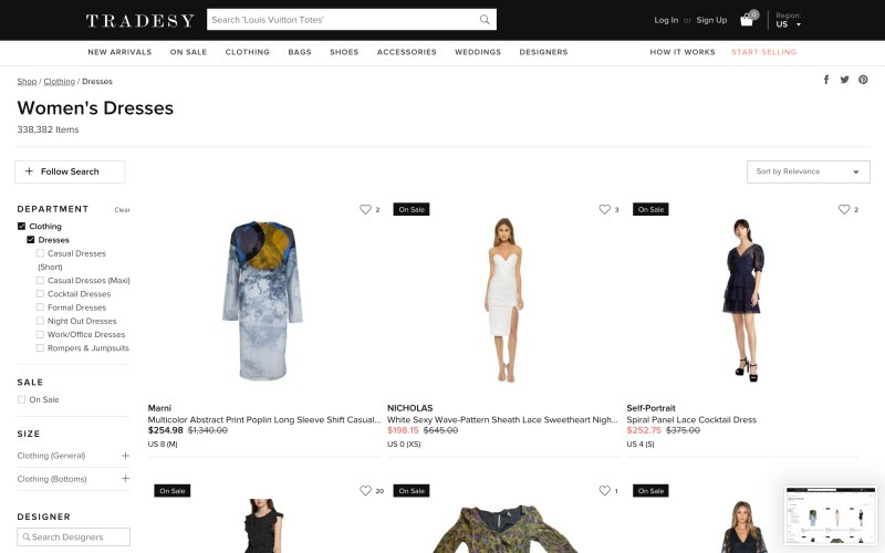 Tradesy catalog page screenshot on April 5, 2019