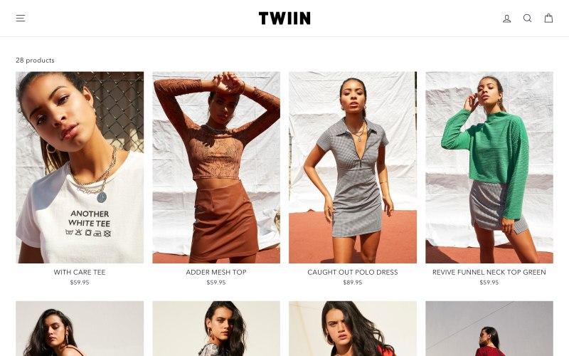 Twiin catalog page screenshot on April 27, 2019