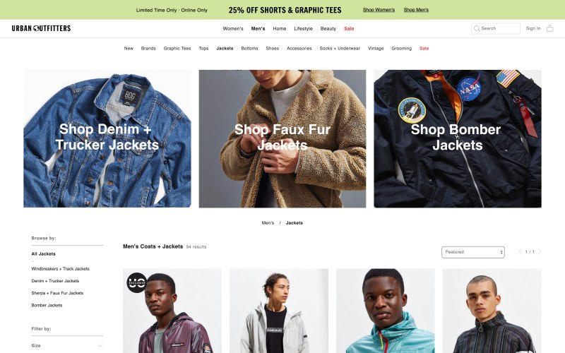 Urban Outfitters catalog page screenshot on April 11, 2019