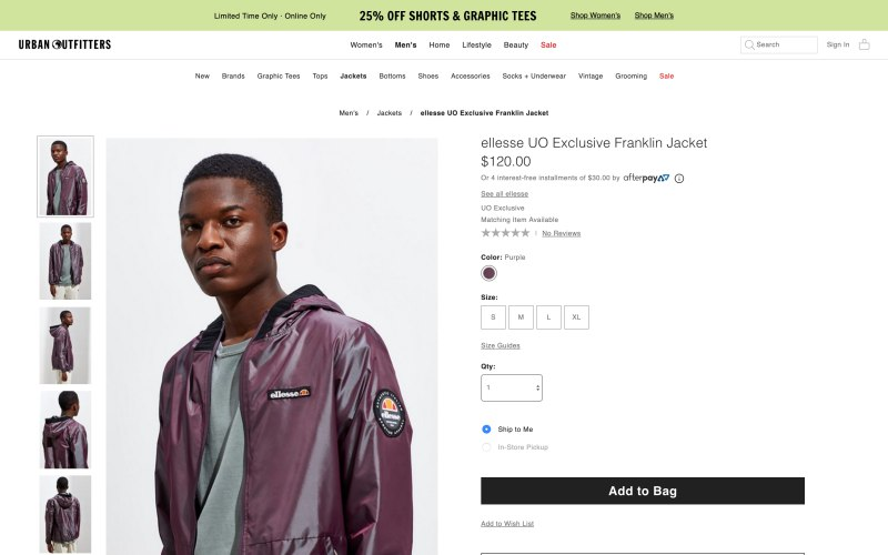 Urban Outfitters product page screenshot on April 11, 2019