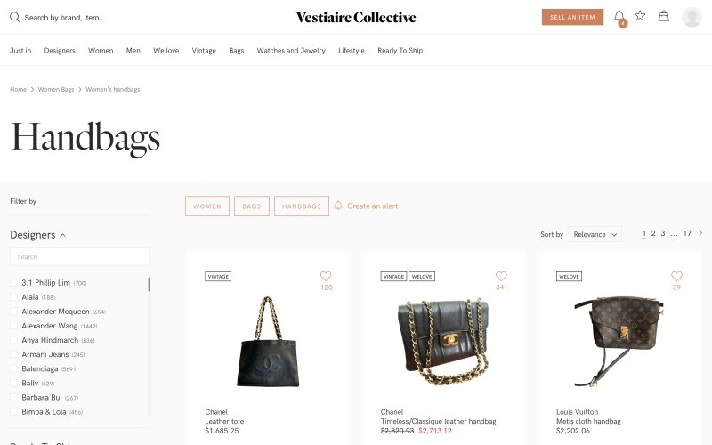 Vestiaire Collective catalog page screenshot on April 1, 2019