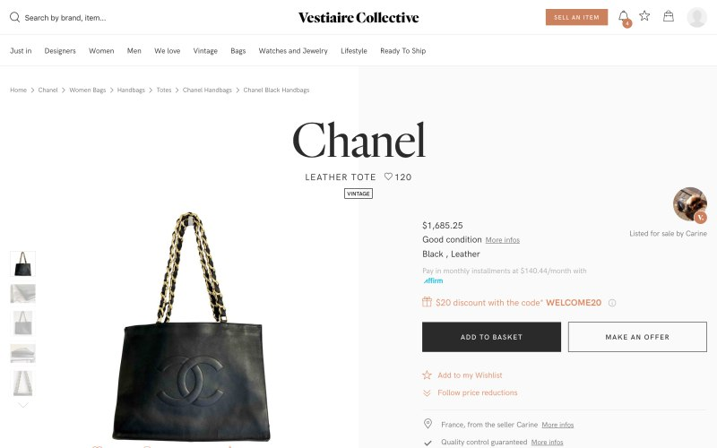 Vestiaire Collective product page screenshot on April 1, 2019