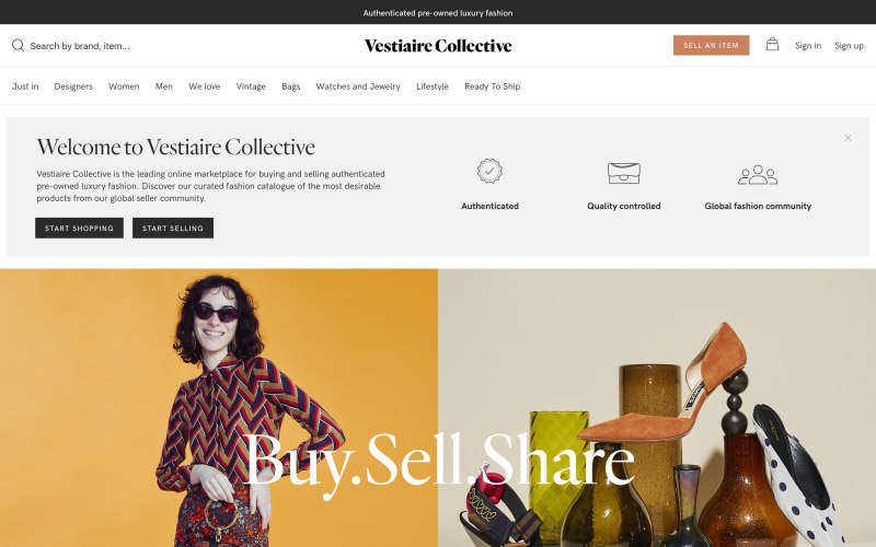 Vestiaire Collective home page screenshot on April 1, 2019