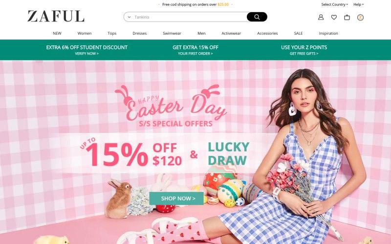 Zaful home page screenshot on April 26, 2019