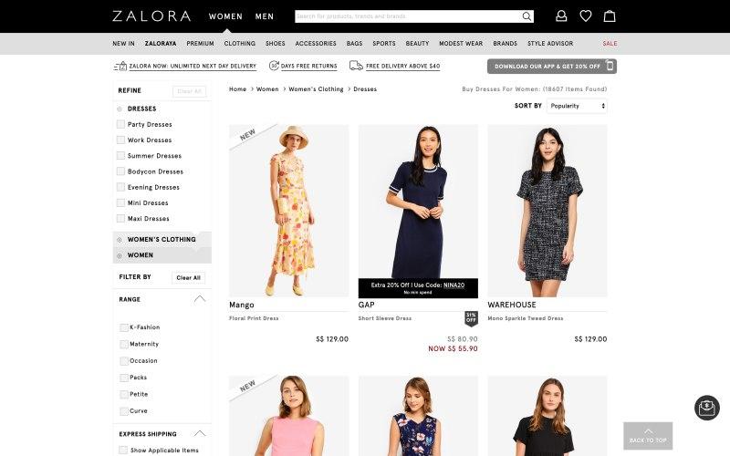 Zalora catalog page screenshot on April 11, 2019