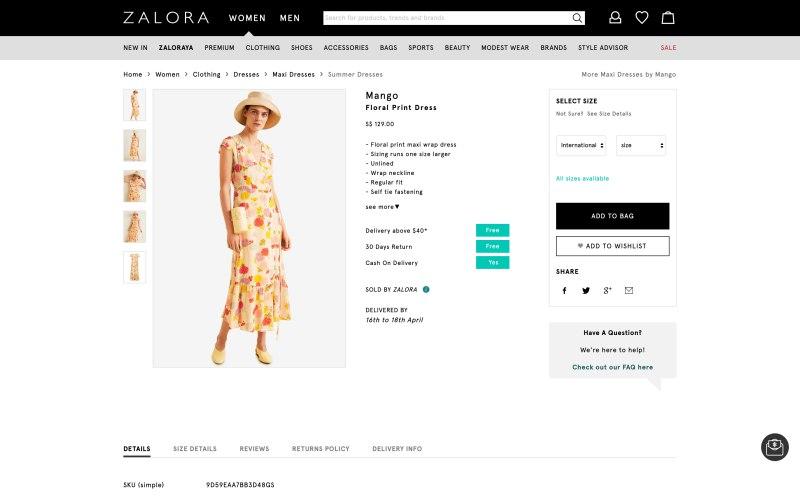 Zalora product page screenshot on April 11, 2019