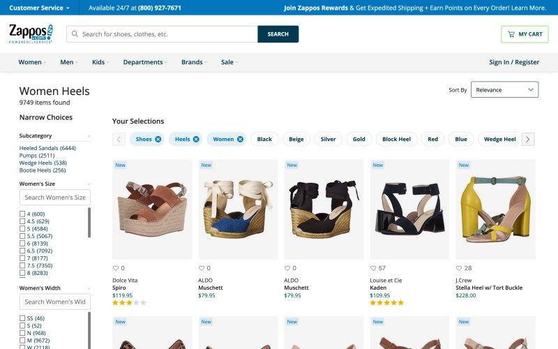 Zappos catalog page screenshot on April 10, 2019
