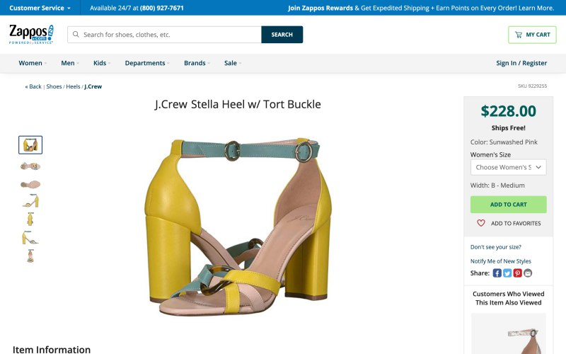 Zappos product page screenshot on April 10, 2019