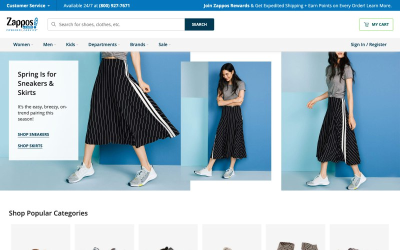 Zappos home page screenshot on April 10, 2019