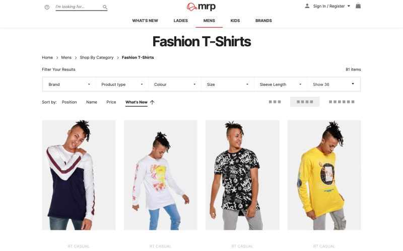mrp catalog page screenshot on April 23, 2019