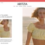 Aritzia home page screenshot on May 14, 2019