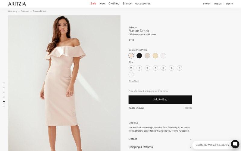 Aritzia product page screenshot on May 14, 2019