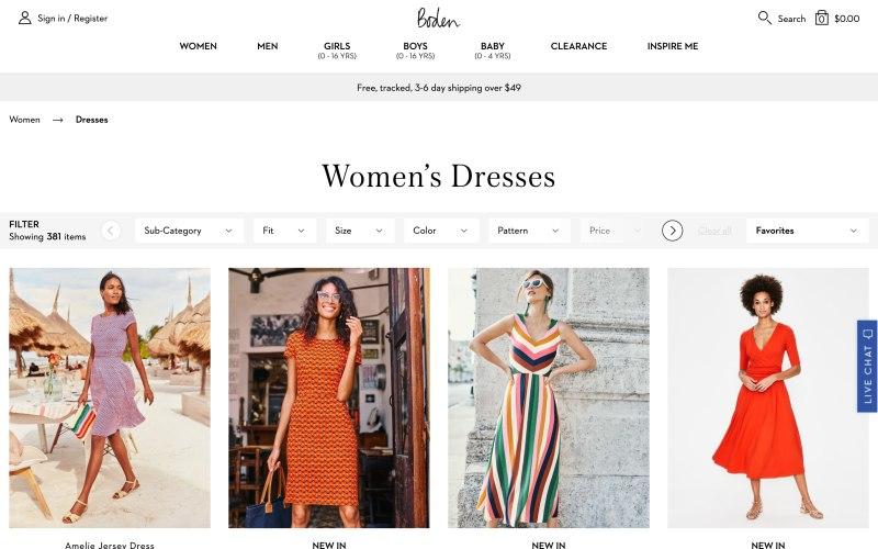 Boden catalog page screenshot on May 9, 2019