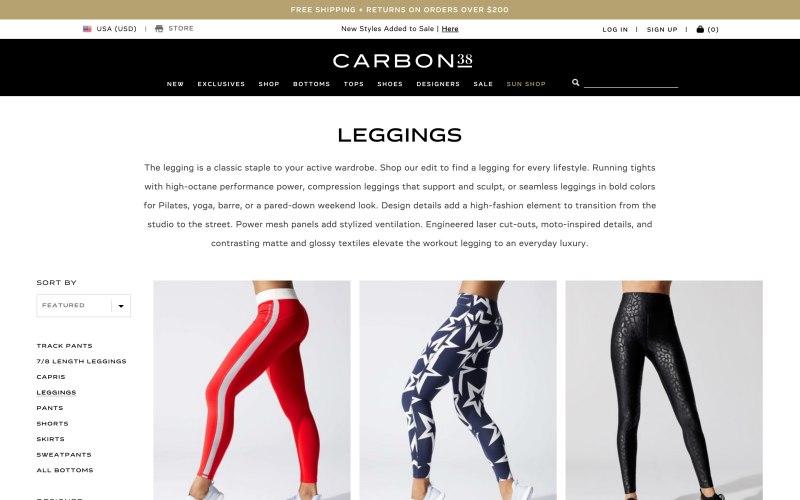 Carbon38 catalog page screenshot on May 15, 2019