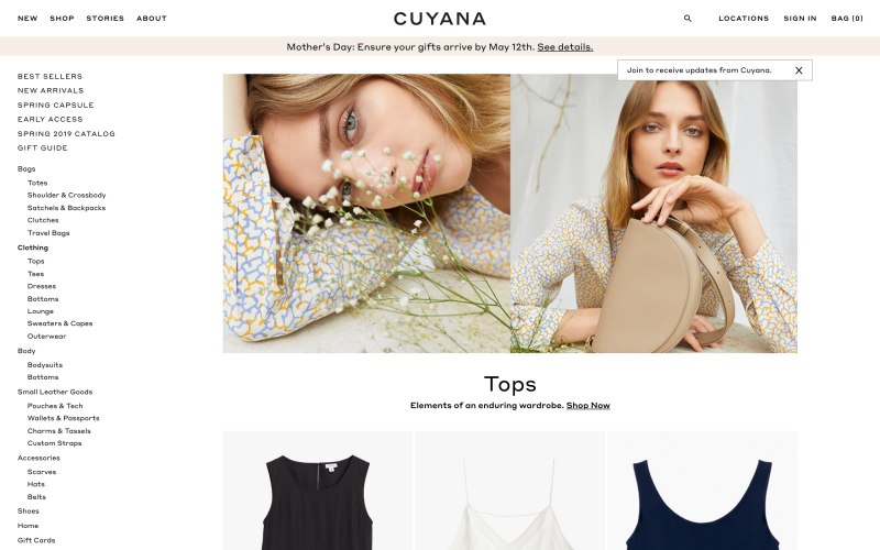 Cuyana catalog page screenshot on May 2, 2019