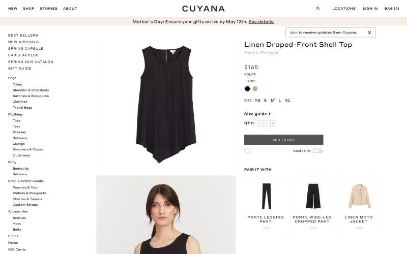 Cuyana product page screenshot on May 2, 2019