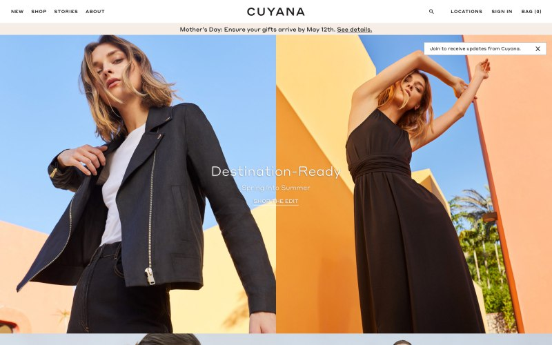 Cuyana home page screenshot on May 2, 2019