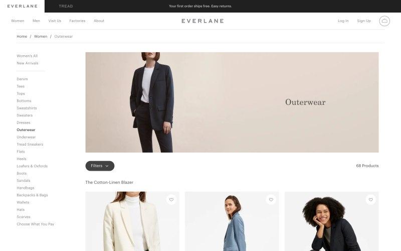 Everlane catalog page screenshot on May 2, 2019