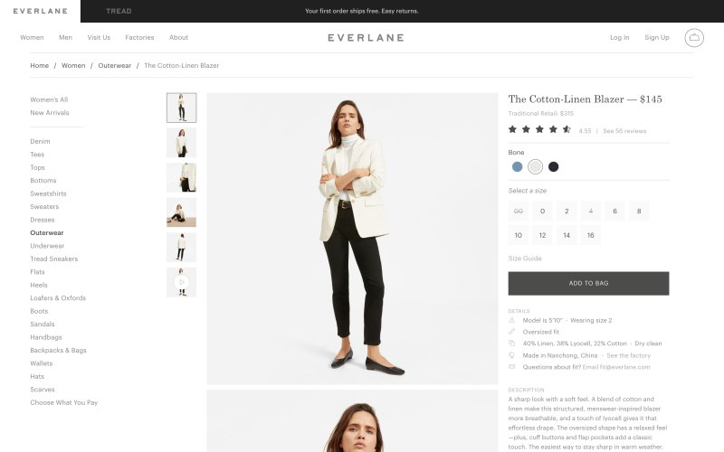 Everlane product page screenshot on May 2, 2019