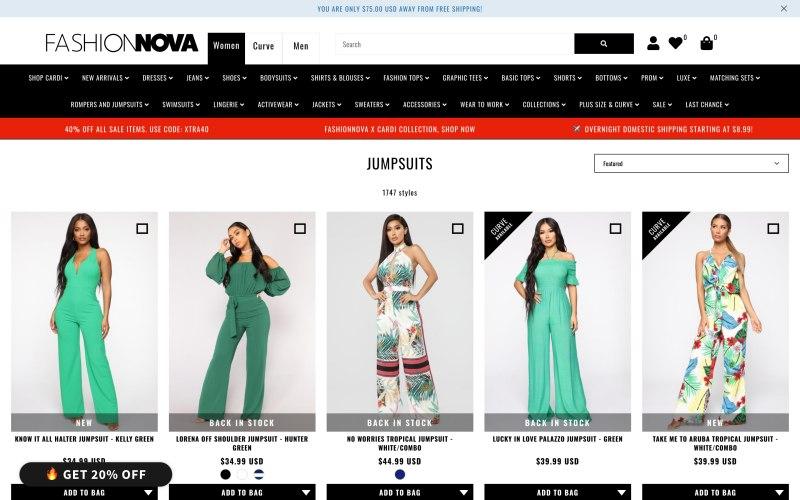 Fashion Nova catalog page screen shot on May 13, 2019
