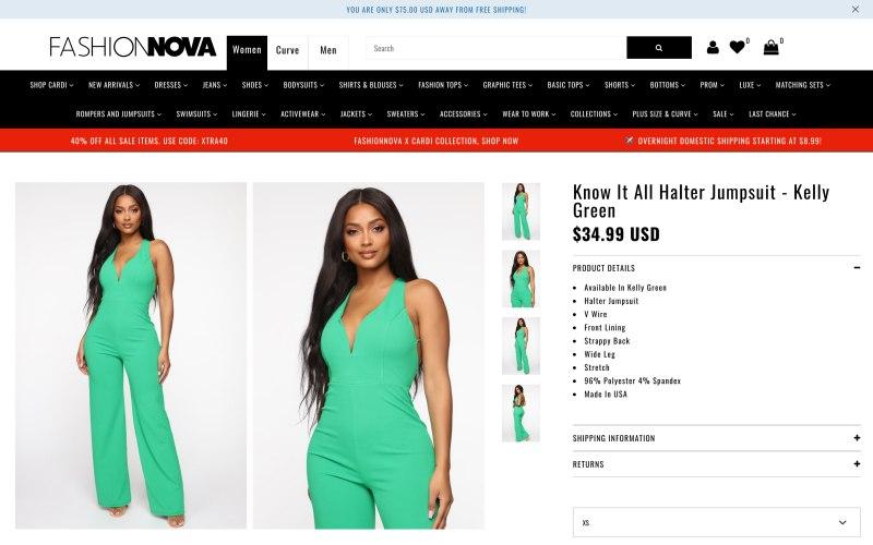 Fashion Nova product page screen shot on May 13, 2019