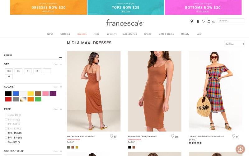 Francesca's catalog page screenshot on May 11, 2019