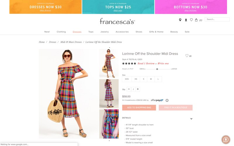 Francesca's product page screenshot on May 11, 2019