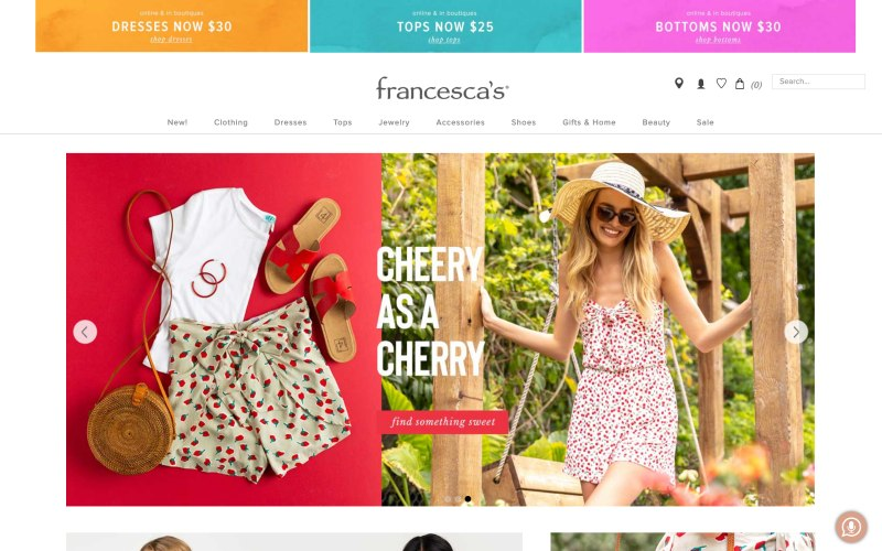 Francesca's home page screenshot on May 11, 2019