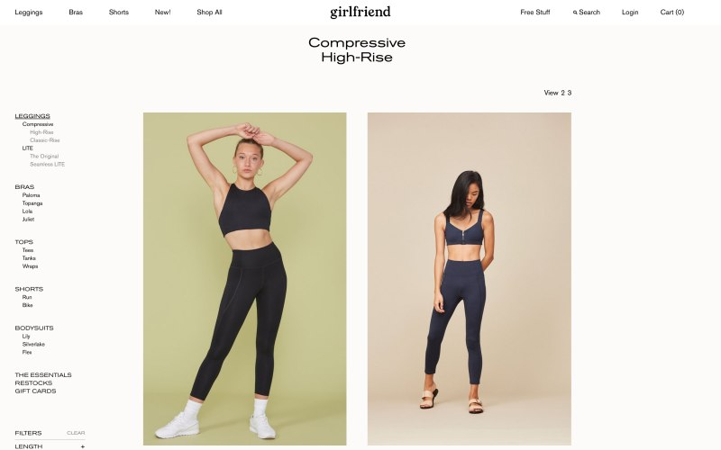 Girlfriend Collective catalog page screenshot on May 16, 2019