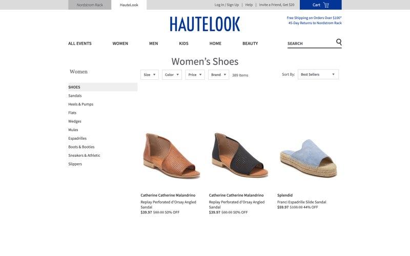 Haute Look catalog page screenshot on May 16, 2019