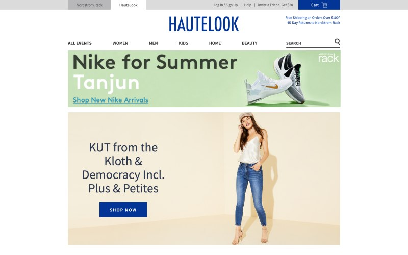 Haute Look home page screenshot on May 16, 2019