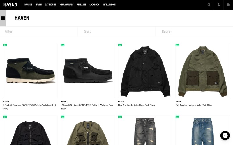 Haven Shop catalog page screenshot on April 30, 2019