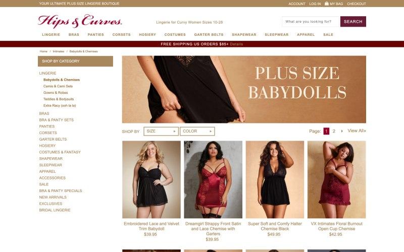 Hips & Curves catalog page screenshot on May 15, 2019
