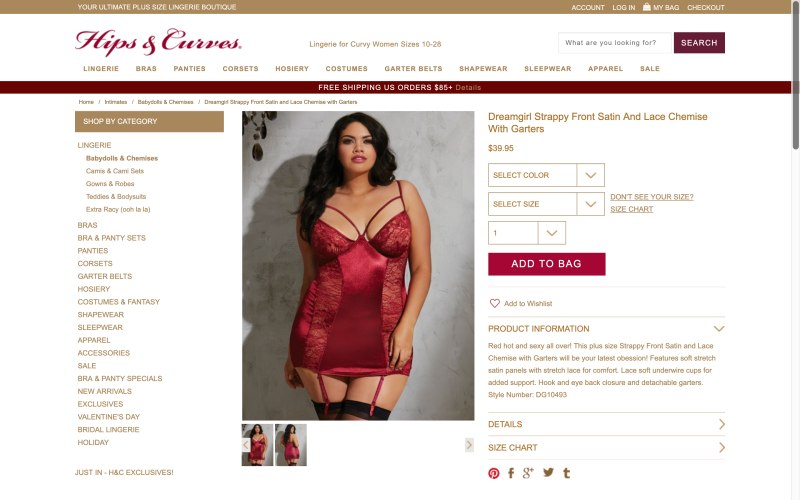 Hips & Curves product page screenshot on May 15, 2019
