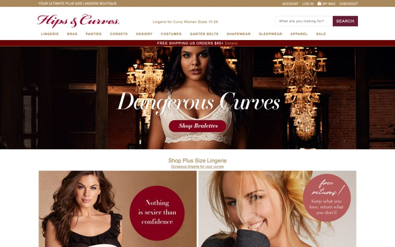 Hips & Curves home page screenshot on May 15, 2019