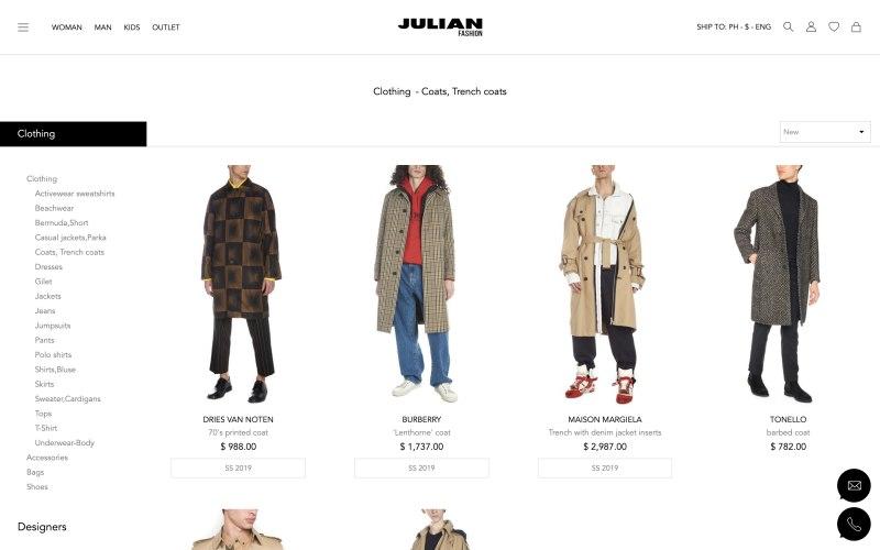 Julian Fashion catalog page screenshot on May 13, 2019