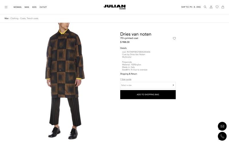 Julian Fashion product page screenshot on May 13, 2019