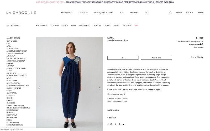 La Garconne product page screenshot on May 7, 2019
