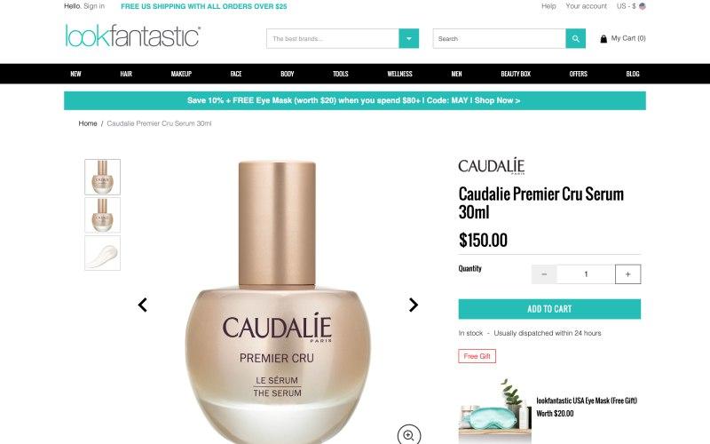 Lookfantastic product page screenshot on May 8, 2019