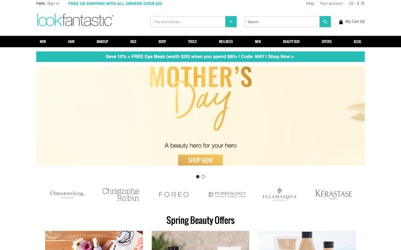 Lookfantastic home page screenshot on May 8, 2019