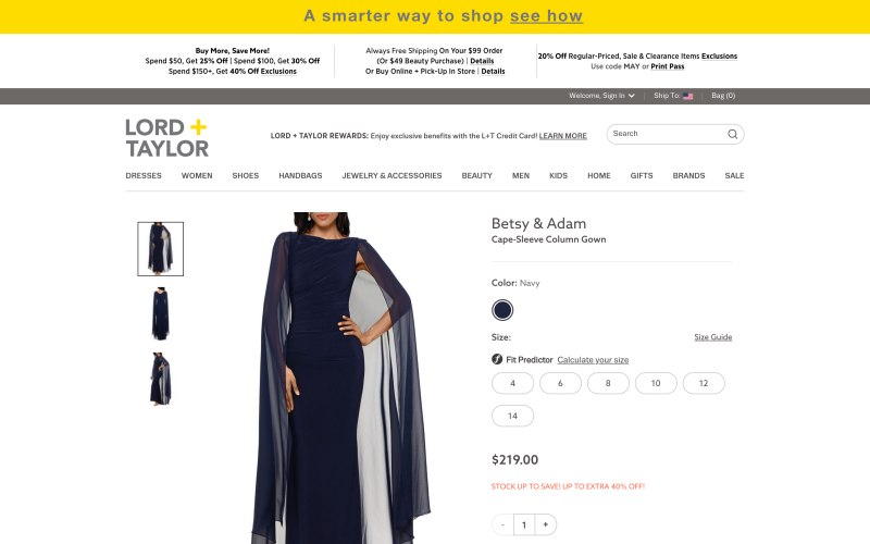 Lord + Taylor product page screenshot on May 14, 2019